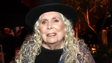 "Photo of Joni Mitchell says she's ""showing slow improvement"" following 2015 aneurysm; releases archival box set today"